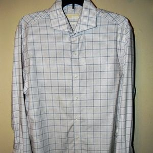 Michael Kors Wht/Tan/Blue Long Sleeve Men's Shirt